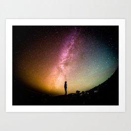 Rainbow Milky Way Galaxy Night Sky Photography Art Print