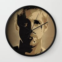 ryan gosling Wall Clocks featuring Ryan Gosling TPBTP by Andy Rogerson