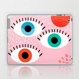 Noob - eyes memphis retro throwback 1980s 80s style neon art print pop art retro vintage minimal Laptop & iPad Skin