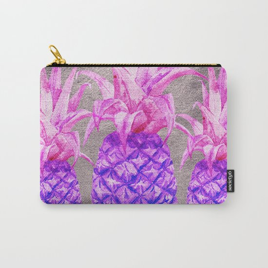 Pineapple on silver Carry-All Pouch