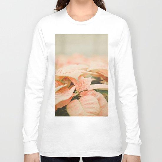 Peach Poinsettias  Long Sleeve T-shirt