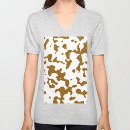 Large Spots - White and Golden Brown Unisex V-Neck