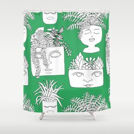 Illustrated Plant Faces in Kelly Green Shower Curtain