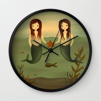 pisces Wall Clocks featuring Pisces by The Midnight Rabbit