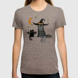 2 cats – Bat and Wizard on a broomstick for Halloween T-shirt