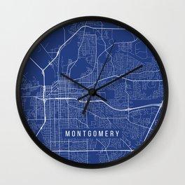 Montgomery Map, USA - Blue Wall Clock