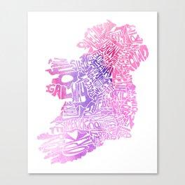 Typographic Ireland - Pink Watercolor map Canvas Print