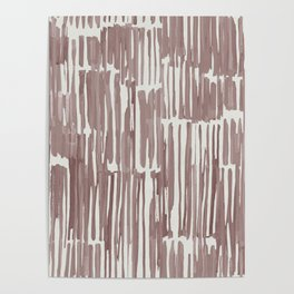Simply Bamboo Brushstroke Red Earth on Lunar Gray Poster