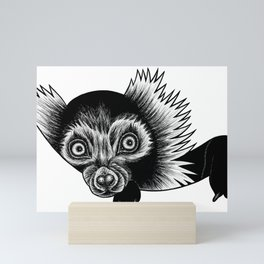 Black and white ruffed lemur - ink illustration Mini Art Print
