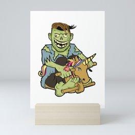 Undead Zombie Riding Wooden Rocking Horse Halloween print Mini Art Print