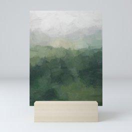 Gray Fog Green Hills Abstract Nature Scenic Painting Art Print Wall Decor  Mini Art Print