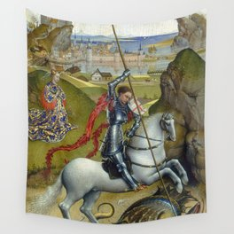 Saint George and the Dragon Oil Painting by Rogier van der Weyden Wall Tapestry