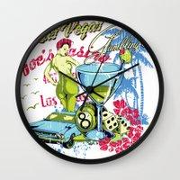 las vegas Wall Clocks featuring Las Vegas by Tshirt-Factory