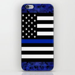 Blue Police Flag with Officers iPhone Skin