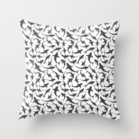 sharks Throw Pillows featuring Sharks by mjlomax