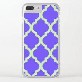 Green and Purple Quatrefoil Clear iPhone Case