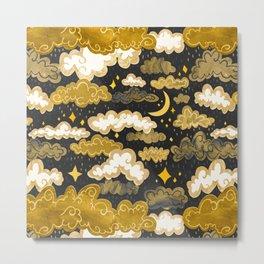 Midnight Ochre Rainclouds - Golden Metal Print