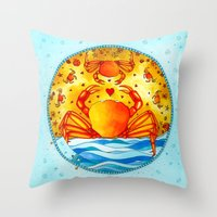 cancer Throw Pillows featuring Cancer by Sandra Nascimento