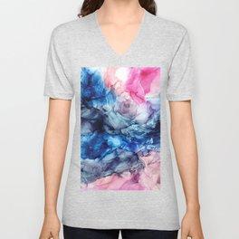 Soul Explosion- vibrant abstract fluid art painting Unisex V-Neck
