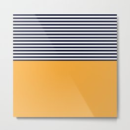 Mustard & Navy Blue Half Striped Metal Print
