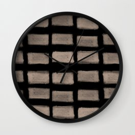 Brush Strokes Horizontal Lines Nude on Black Wall Clock