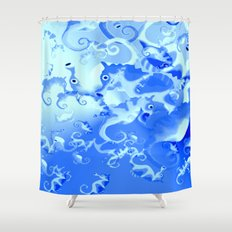 Seahorse in blue Shower Curtain