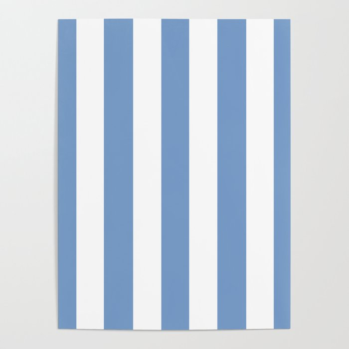 Dark Pastel Blue Solid Color White Vertical Lines Pattern Poster