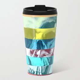 Striped Glitch Skull Travel Mug