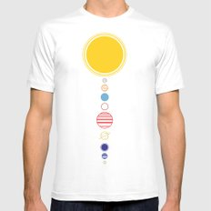 Planets LARGE White Mens Fitted Tee