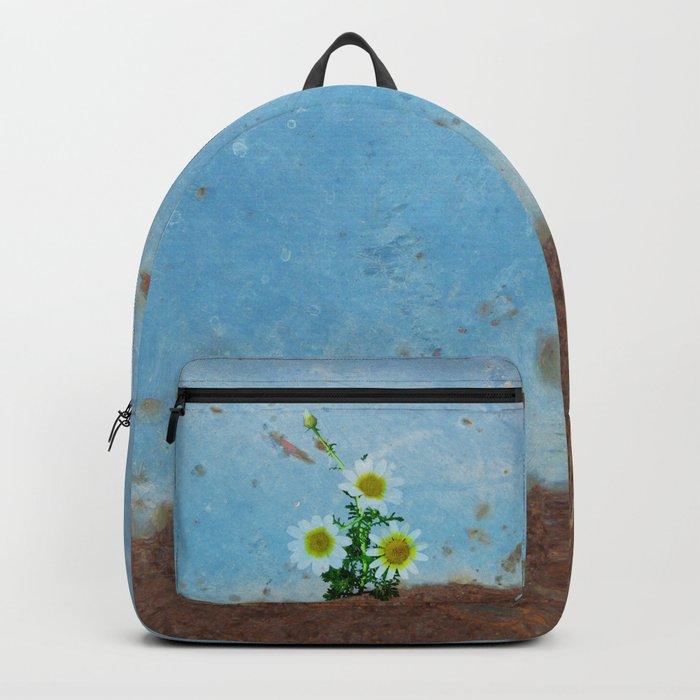 Daisies on rusty metal Backpack