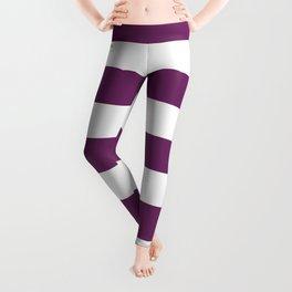 Byzantium - solid color - white stripes pattern Leggings
