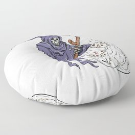 Grim Reaper Throwing the Dice Drawing Color Floor Pillow