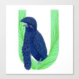 U is for Umbrella Bird Letter Alphabet Decor Design Art Pattern Canvas Print