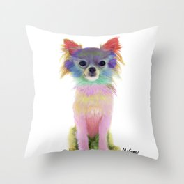 Colorful Chihuahua Throw Pillow