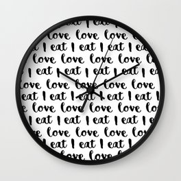 I love eat pattern Wall Clock