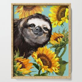 Sloth with Sunflowers Serving Tray