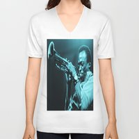 "miles davis V-neck T-shirts featuring Miles Presents ""The In Blue"" by Revolutionthrulife"