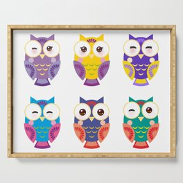bright colorful owls on white background Serving Tray