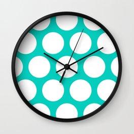 Large Polka Dots: Aqua Blue Wall Clock