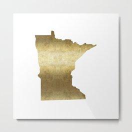 minnesota gold foil state map Metal Print