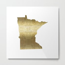 minnesota gold foil state map Metal Print