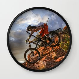 Mountain Bike in Rugged Mountain Terrain in Sunbeams Wall Clock