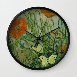 "Vincent Van Gogh ""Butterflies and Poppies"" Wall Clock"
