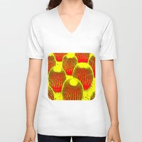 cacti V-neck T-shirts featuring Orange Cacti  by Ethna Gillespie