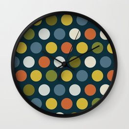 Dots on blue ground Wall Clock