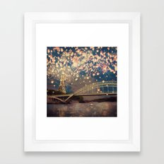 Love Wish Lanterns over Paris Framed Art Print