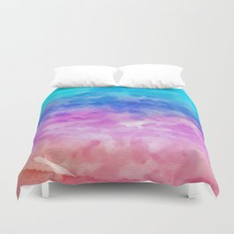 Abstract coral pink teal watercolor gradient pattern Duvet Cover