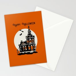 Vintage Style Haunted House - Happy Halloween Stationery Cards