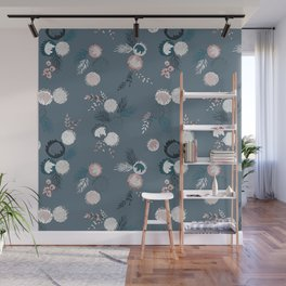 Moody Floral Bouquet Pink and Blue Wall Mural