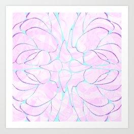 Abstract Mint Pink Flower Pattern Art Print